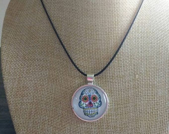 Sugar skull daisy flower Day of the dead pendant and necklace