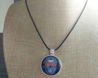 Blue sugar skull flower day of the dead pendant and necklace