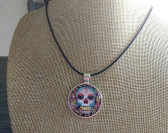 Spider web sugar skull day of the dead pendant and necklace