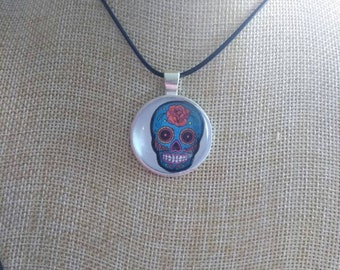 Blue sugar skull red rose day of the dead pendant and necklace