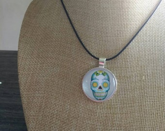 Blue green sugar skull day of the dead pendant and necklace
