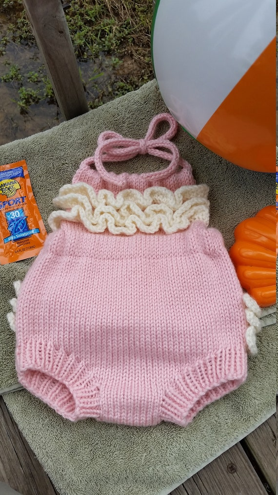 Instant Download Pattern For Machine Knit Ruffled Baby Sunsuit Etsy