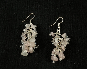 Pink natural stone earrings