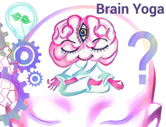 cute brain clipart mind yoga digital happy little etsy etsy