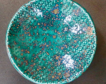 Turquoise Green with Flecks of Copper Ceramic Trinket Dish. Ring Dish. Soap Dish. Jewelry Dish. Christmas Gift. Home Office. Studio Handmade