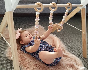 Modern play gym frame and toys - teething toys -