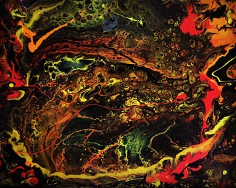 "Abstract,  ""Vulcano"" Acrylic on canvas Painting, Art work"