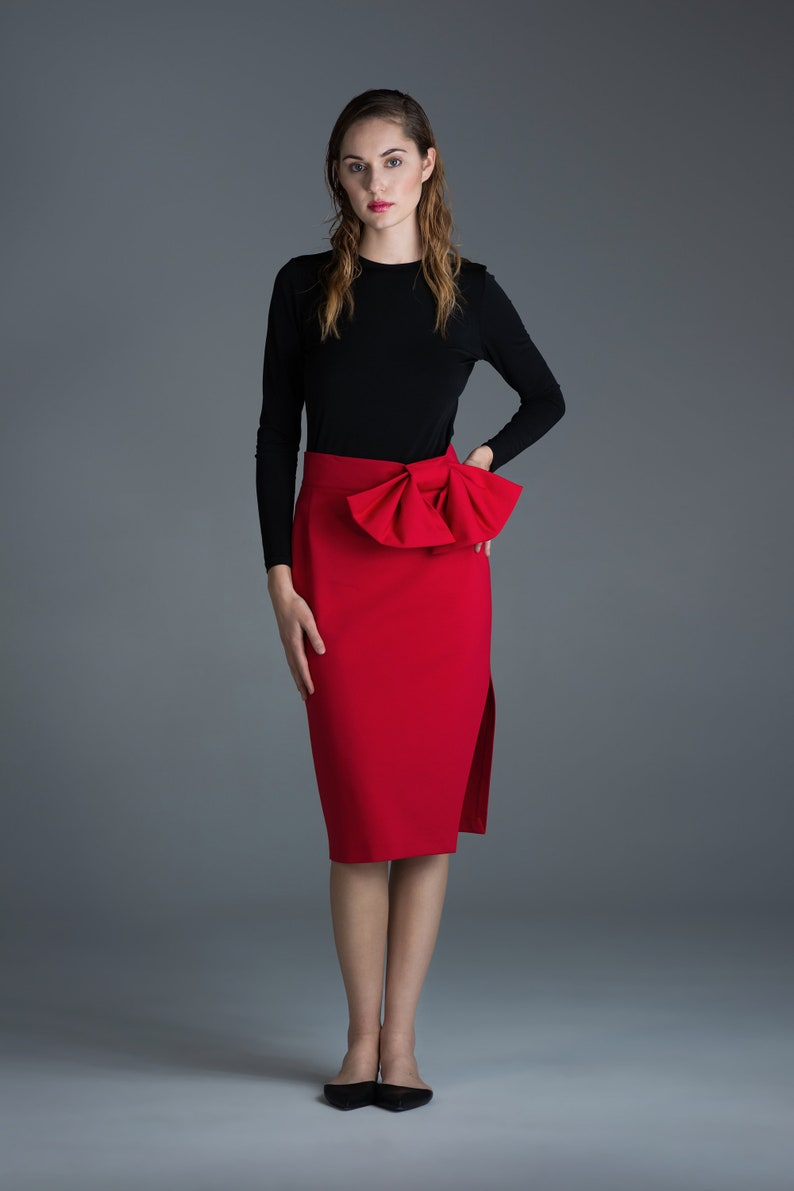 300bd5926e Pencil Midi Skirt Red High Waisted Skirt Wedding Reception