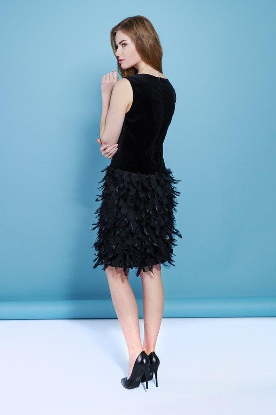 Black Women Dress Velvet Black Dress Dress With Feathers Etsy