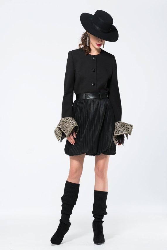 Bubble but mini skirts Mini Skirt Black Skirt Pleated Skirt Leather Skirt Faux Etsy
