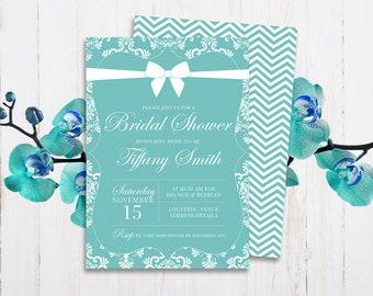 personalised diy printable tiffany blue bridal shower invitation tiffany blue themed party invite