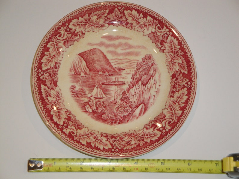 REDUCED Vintage Homer Laughlin Currier /& Ives Bread and Butter Plate Red Transferware Replacements Discontinued Made In America Discounted