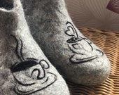 Felt felted wool slippers clogs house shoes mules woman 39 s men 39 s unisex handmade using eco friendly wool