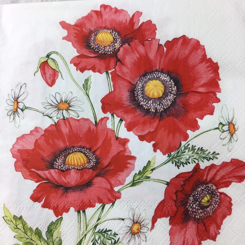 Ambiente Paper party Napkins Poppies Pack Of 20 3 Ply Luxury Serviettes BBQ