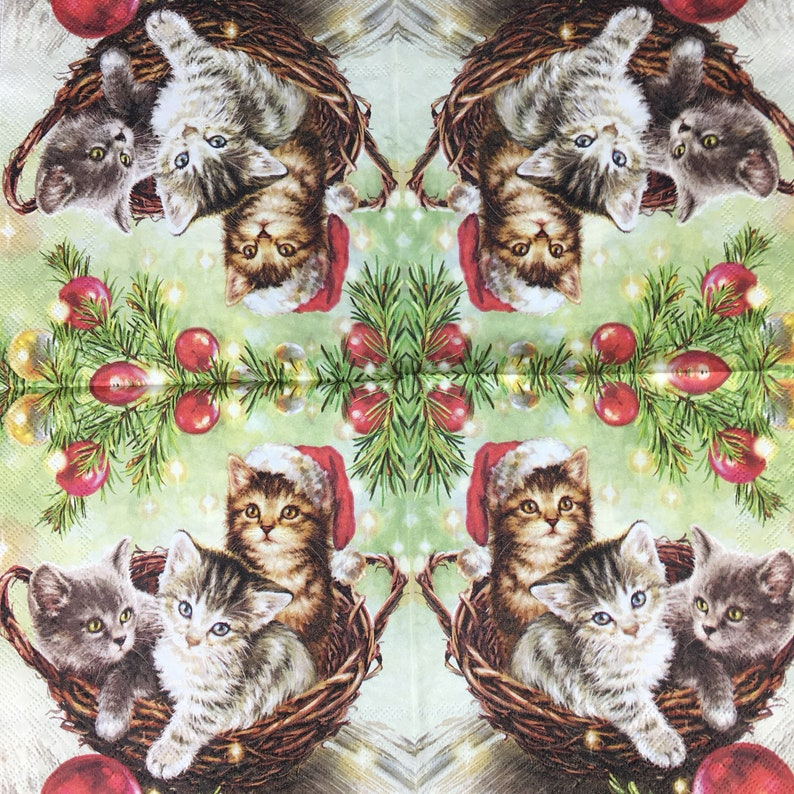 20 x Paper luxury Party Napkins Cats in Basket by Ambiente party BBQ or social gathering