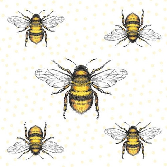 20 x Summer Honeycombe Bees Bee Flowers Floral Daisy Paper Napkins Serviettes