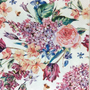 5 Paper Party Napkins Flower Composition pack of 5 3 ply tissue Luxury Serviettes Free UK postage