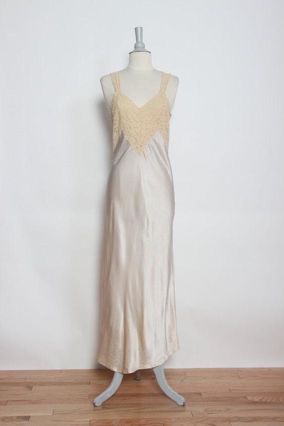 ff5bebf9bb99 Vintage 1940s Silk and Lace Bias Cut Slip Nightgown | Etsy