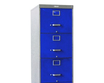 4 Drawer Retro Filing Cabinet Blue