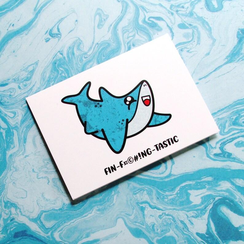 Snarky Shark l  Kawaii Card for Adult  Cute Blank All image 0