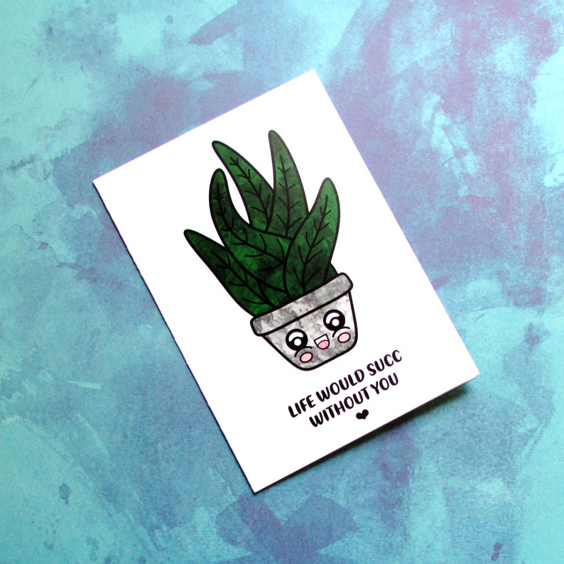 Sappy Succulent Kawaii Plant Lover Card  Cute Plant Mom Gift image 0