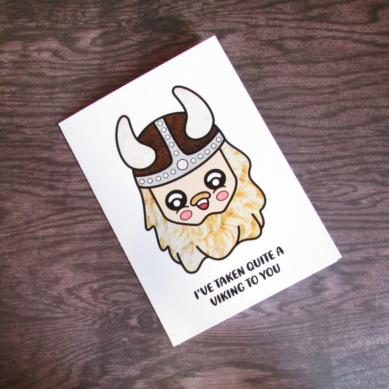 Quirky Viking Funny Kawaii Pun Card Etsy
