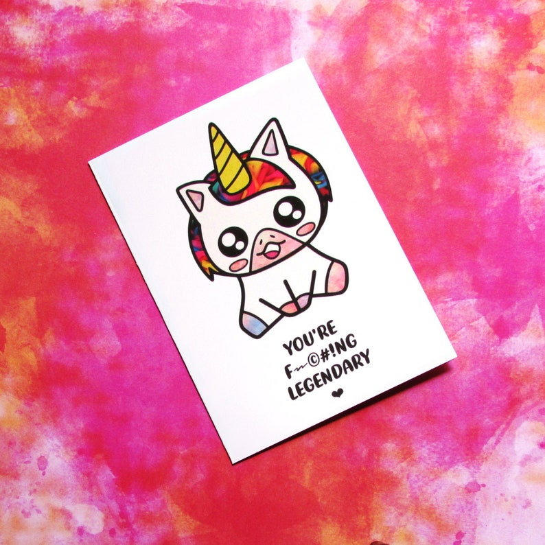 Unicorn Card  Quirky Kawaii Adult Mother's Day Card  image 0