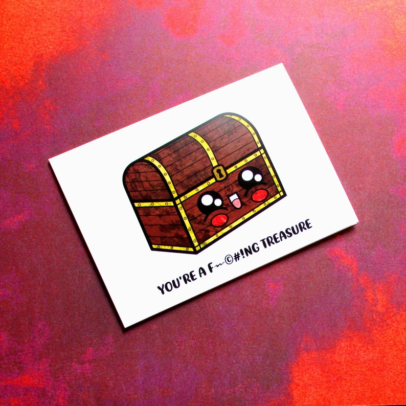 Cheesy Treasure Chest  Adult Card for Gamer  Kawaii Legend image 0