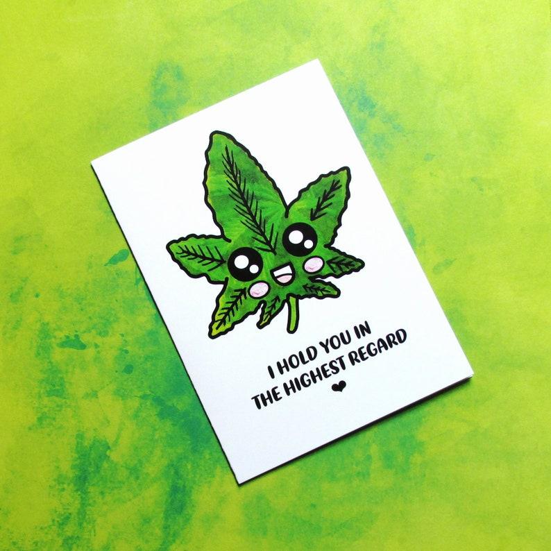 Positive Pot Leaf Card  Kawaii Weed Leaf  420 Birthday or image 0