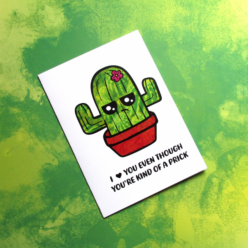 Snarky Cactus  Funny Adult Card for Him  Funny Father's image 0