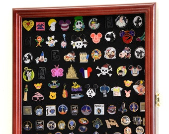 1 Glass Top Lid 16 Space Black Jewelry Collectibles Display Case Charms Pins