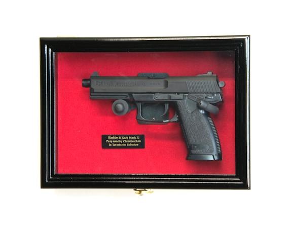 Single Pistol Display Case Wall Mount Solid Hardwood Cabinet Handgun Holder Rack