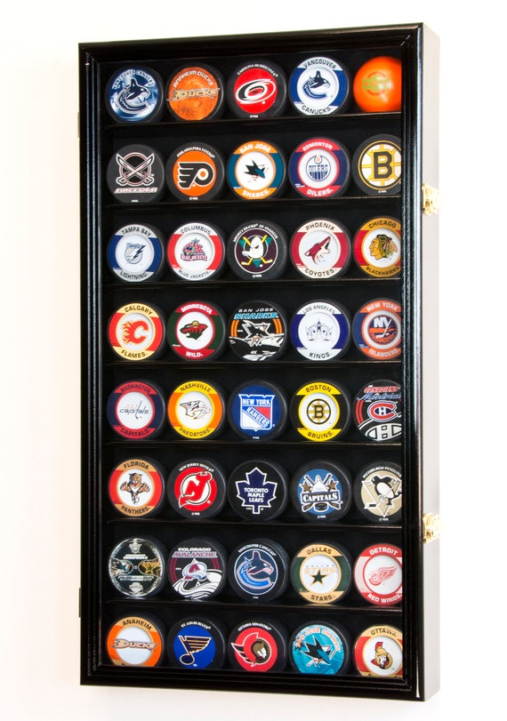 40 Hockey Puck Display Case Cabinet Holder Rack Stand 40% UV Etsy Enchanting Hockey Puck Display Stand