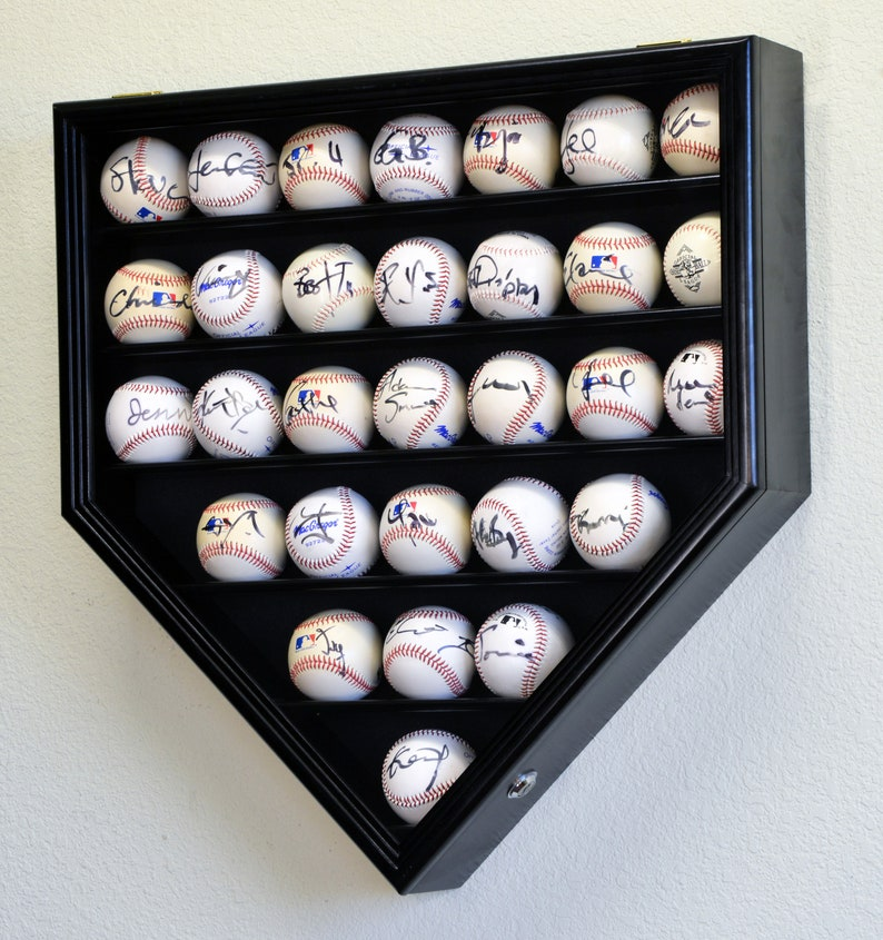 30 Baseball Display Case Cabinet Holder Rack Home Plate Shaped Black Wood Finish
