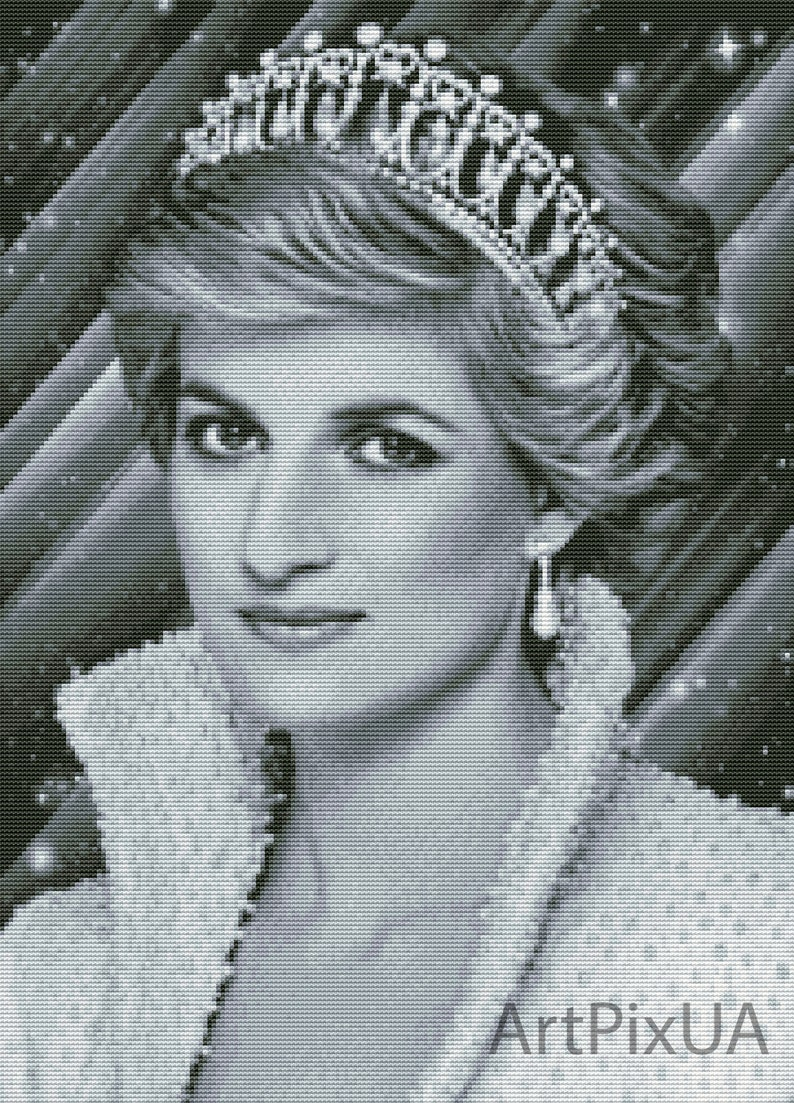 Design for instant download Black and white photo embroidery Cross stitch pattern PDF Princess Diana Counted cross stitch