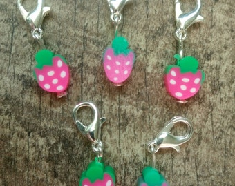 Strawberry Fimo Stitch Marker Set
