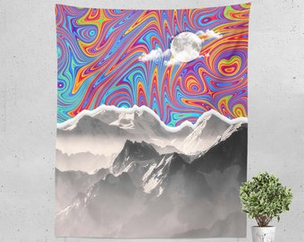 3195b5f276 Psychedelic tapestry Mountain tapestry Trippy tapestry Trippy art  Psychedelic decor Mountain wall art Psychedelic art Mountain wall decor