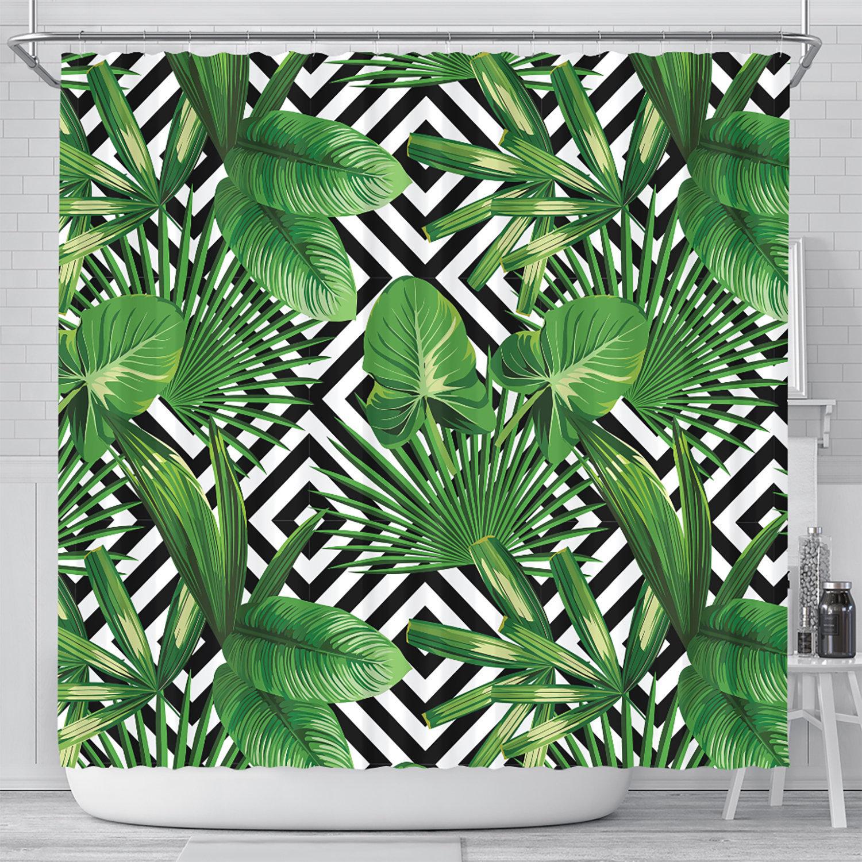 Tropical Shower Curtain Banana Leaf Shower Curtain Palm Leaf Shower Curtains Fabric Shower Curtain Tropical Leaf Tropical Decor