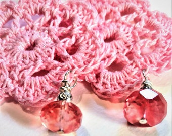 Pink Quartz Pink Crochet Earrings Faceted Strawberry Quartz Bead Strawberry Quartz Bead Earrings Quartz Bead Earrings Crocheted Earrings