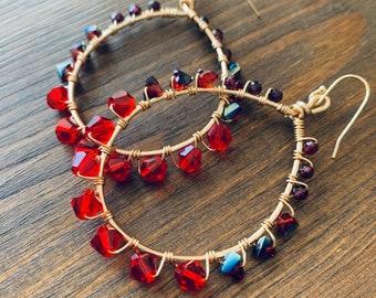 Garnet and mixed Crystal Hoops - Shimmery Hoop Earrings
