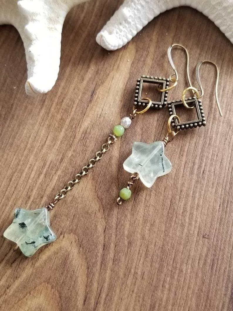 Asymmetrical Dangle Earrings Prehnite Stone Earrings Long and Short Earrings