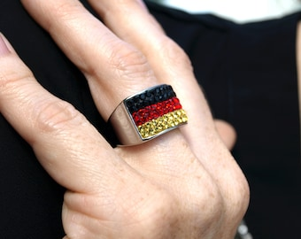 WM Deutschland ring with Swarovski ® Crystals
