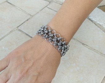 Japanese Lace Chainmaille Bracelet,  Stainless Steel Cuff Bracelet, Elegant  Bracelet, Gift For Girlfriend or Wife, 11th Anniversary Gift
