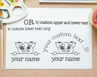 Pig peek-a-boo mounted stamp for return address stamp, book stamp, school project,paper gift