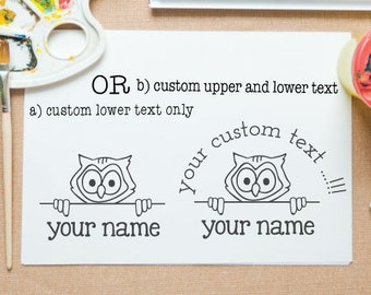 Owl peek-a-boo mounted stamp for return address stamp, book stamp, school project,paper gift