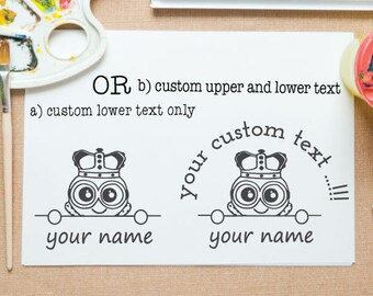 Minion peek-a-boo mounted stamp for return address stamp, book stamp, school project,paper gift