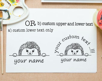 Hedgehog peek-a-boo mounted stamp for return address stamp, book stamp, school project,paper gift