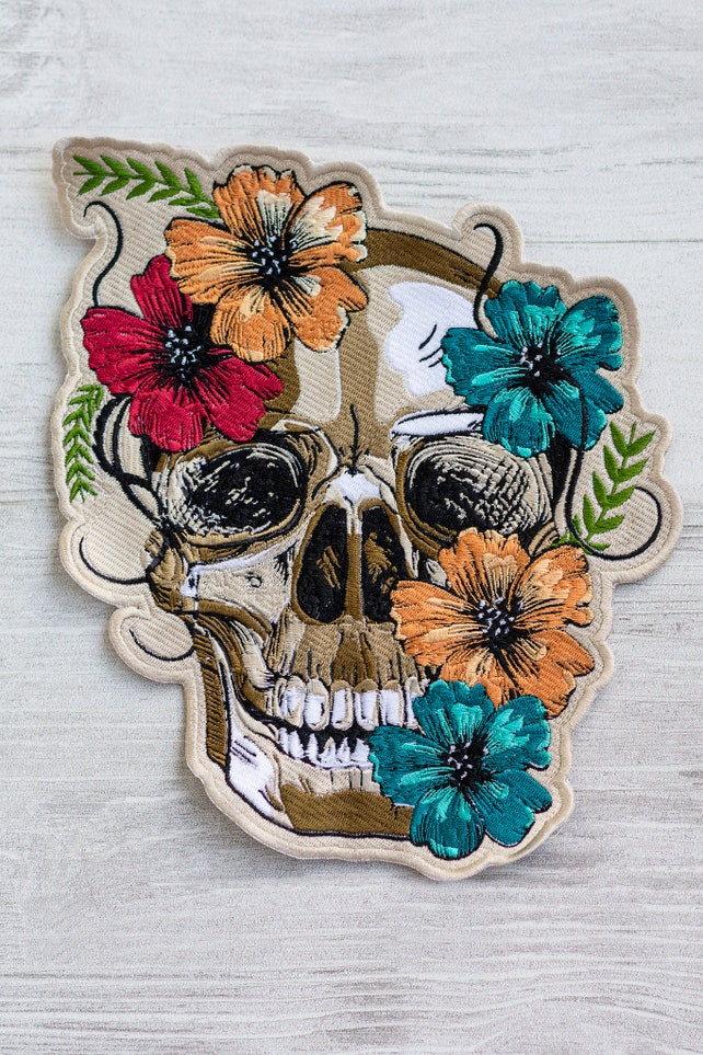 Flower Skull Patch Urban Embroidery Back Patch Embroidered Etsy