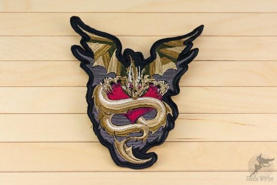 Dragon Patch Urban Embroidery Patch Dragon Heart Urban Art Etsy