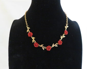 Vintage European Rose charm necklace